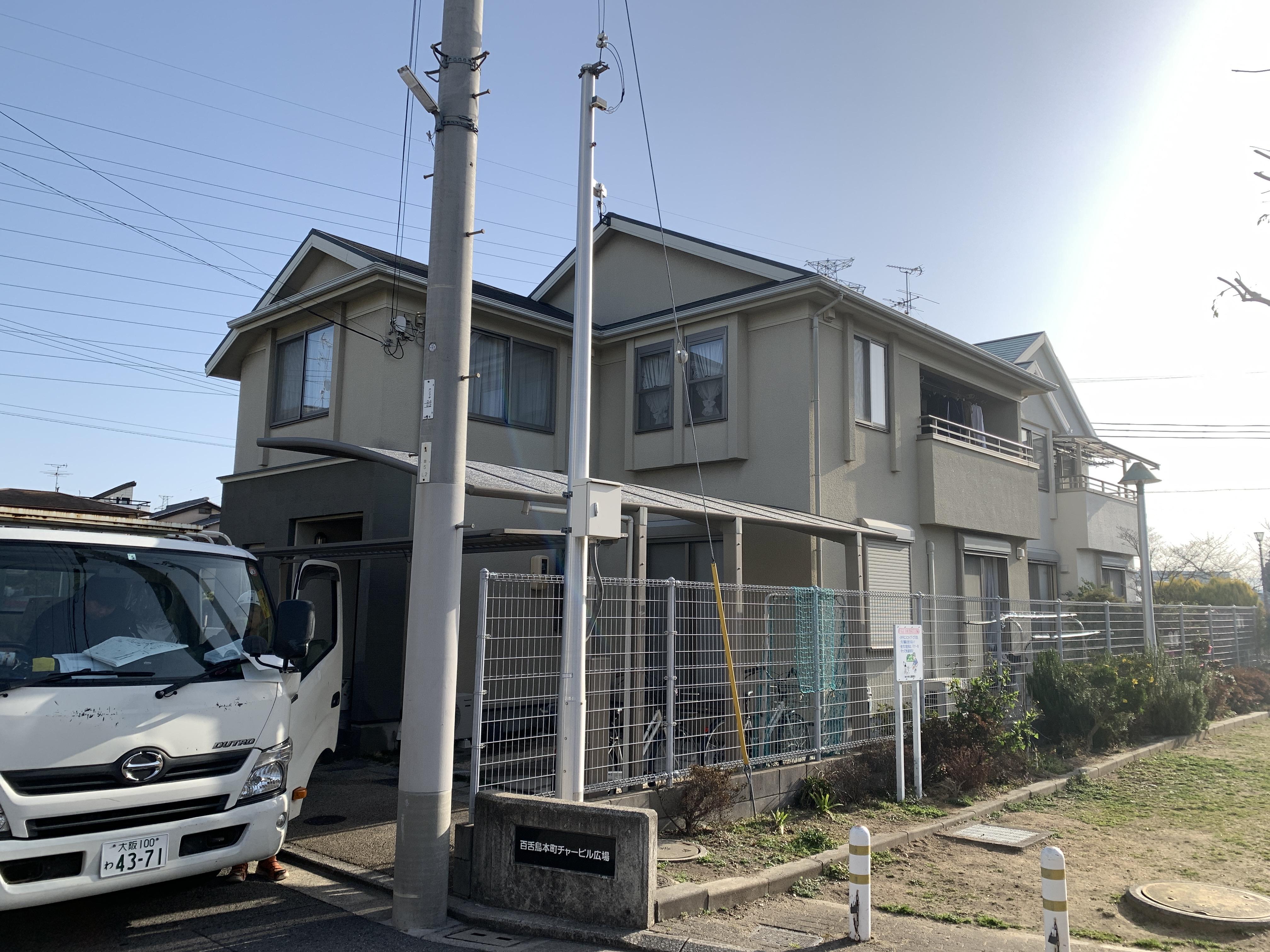 堺市なかもず戸建て外壁塗装工事しました。